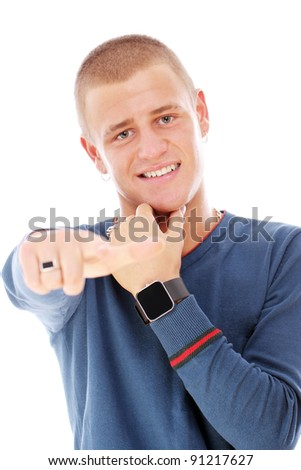 Young stylish guy over white background