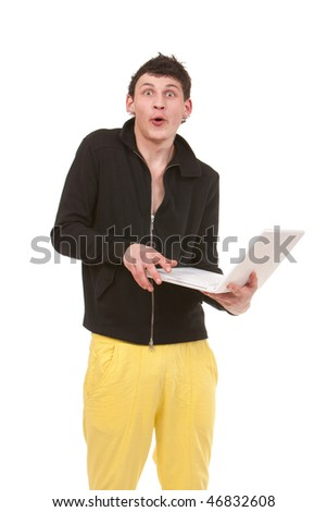 young stylish man with white notebook