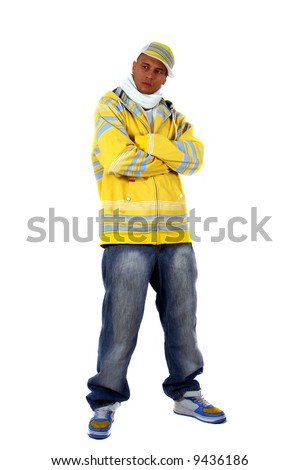 Young Stylish Man Young man with clothes in hip-hop style over pure white background. - stock photo