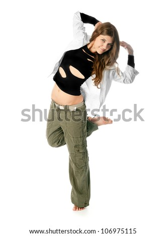 young stylish woman dancing modern ballet dance - stock photo