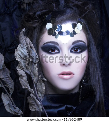 Young stylish woman in black dress with artistic visage with  branch with dry leafs - stock photo