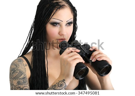 young stylish woman with binoculars, isolated on white