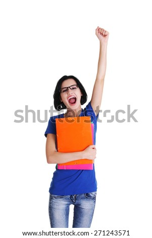 Young succesful student holding her notes. - stock photo
