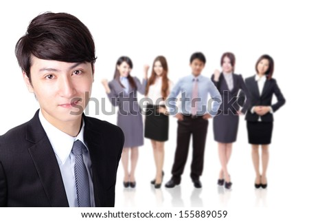 Young successful business man with group team behind him isolated on white background, asian model