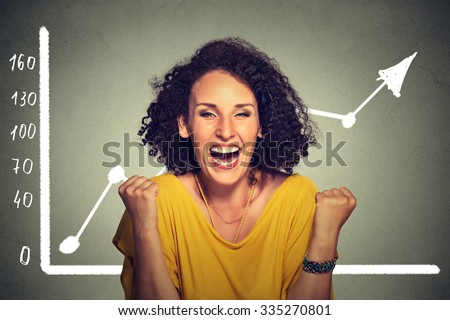 Young successful business woman pumping fists happy with wealth growth celebrates screaming isolated on gray wall background with growing graph. Financial freedom target success concept - stock photo