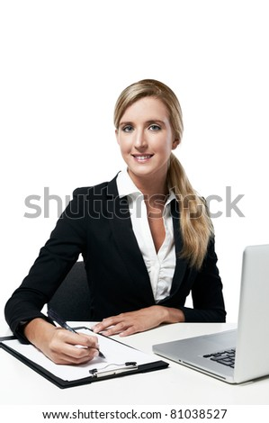 young successful business woman working at office