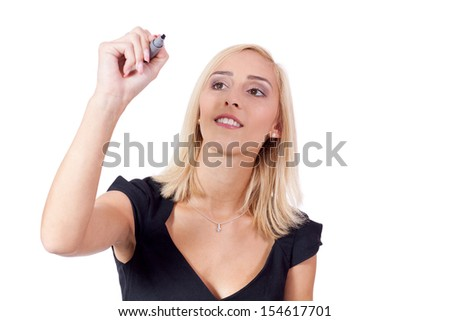 young successful business woman writing with pen isolated copy space - stock photo