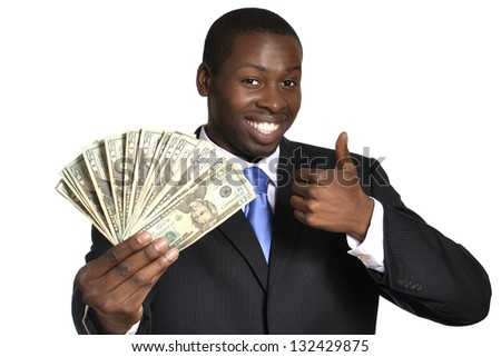 Young successful businessman flaunts handful of money on white background - stock photo