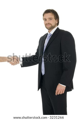 Young successful businessman shaking hands, isolated on white background