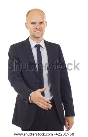 Young successful businessman waiting for handshake, isolated on white