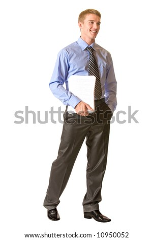 Young successful happy businessman, isolated on white - stock photo