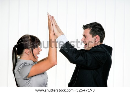 Young Successful in business give me 5 - stock photo
