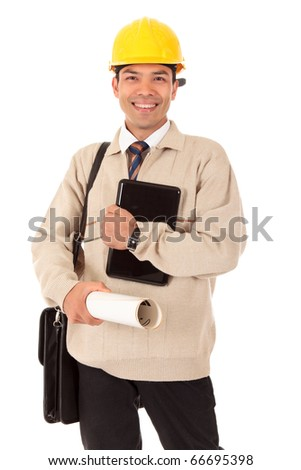 Young successful Nepalese engineer, architect with safety helmet and briefcase holding a laptop and plans. Studio shot. White background. - stock photo