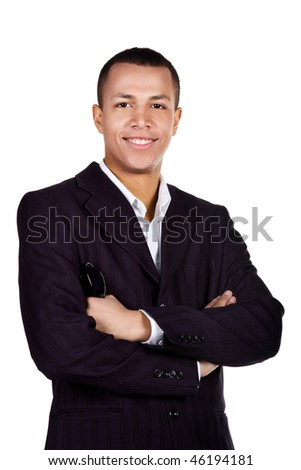 Young successful student on a white background - stock photo