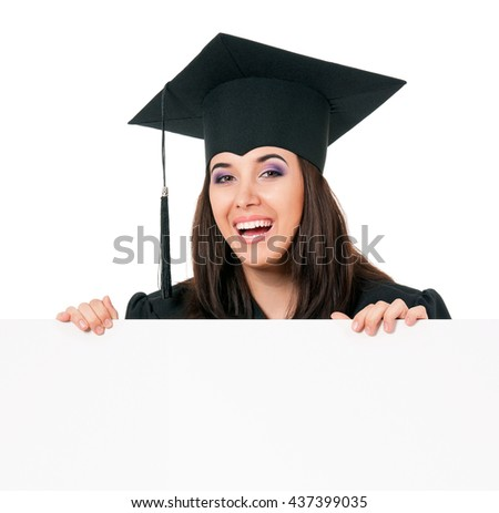 Young successful woman graduating from college holding a blank signboard, isolated on white background