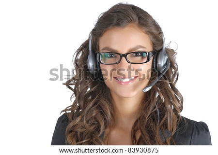 Young support technician with glasses - stock photo