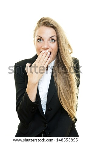 """Young surprised business woman """"oops"""" expression - stock photo"""