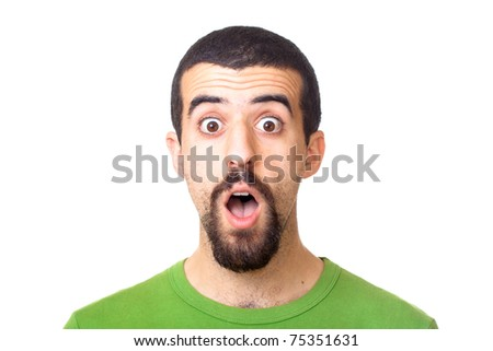 Young Surprised Man Portrait on White - stock photo