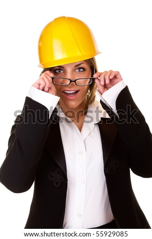 young surprised sexy businesswoman with helmet and glasses