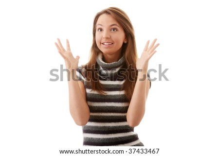 Young surprised woman isolated on white - stock photo