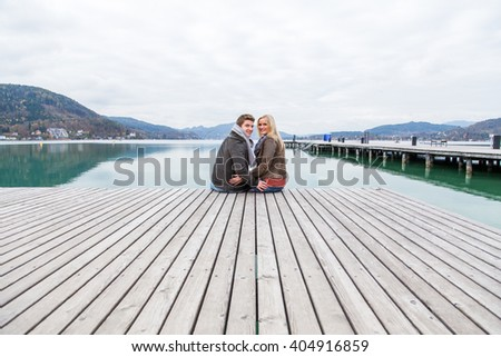 Young sweet attractive european white couple totally in love and enjoying the time together - stock photo