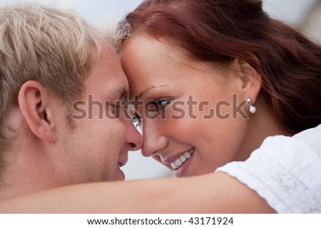 young sweet couple embrace each other - stock photo