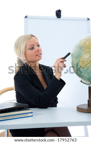 young teacher will teach geography on isolated background - stock photo