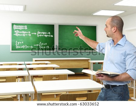 young teacher with book in 3d classroom - stock photo