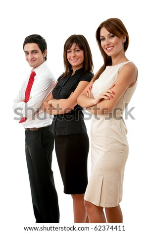 young team of business people on white background - stock photo