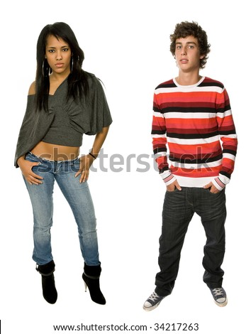 young teen couple full body, isolated on white - stock photo