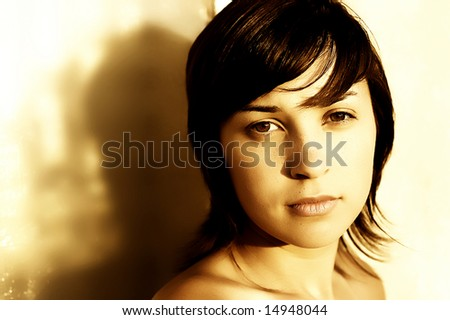 young teen girl casual close up portrait, sepia tone - stock photo