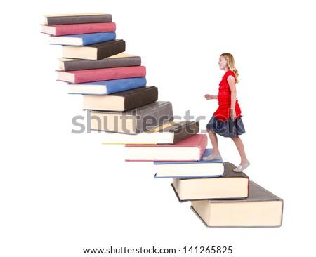 young teenage girl climbing a stair case made of books  isolated white background