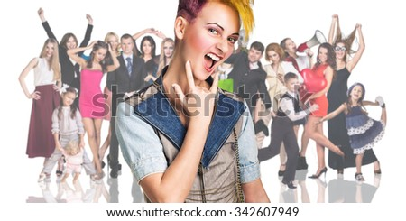 Young teenage girl foreground on the people crowd background isolated on white - stock photo