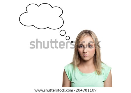 Young teenage girl thinking - empty cloud above head