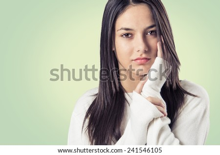 Young teenager brunette girl candid portrait - stock photo