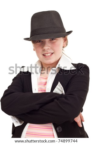 Young teenager girl dressed as a detective, isolated on white - stock photo