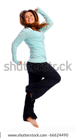 Young teenager jumps and caught in mid air, isolated on white - stock photo