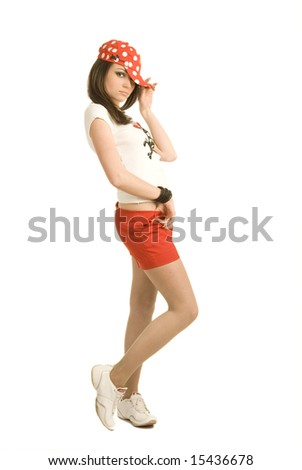 Young teenager on white background - stock photo