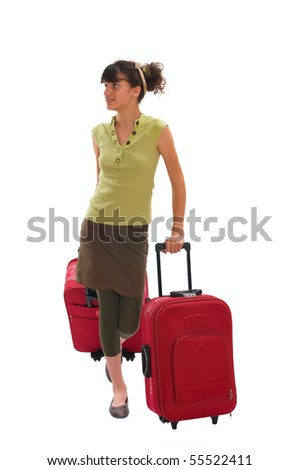 Young teenager with huge luggage on the travel - stock photo