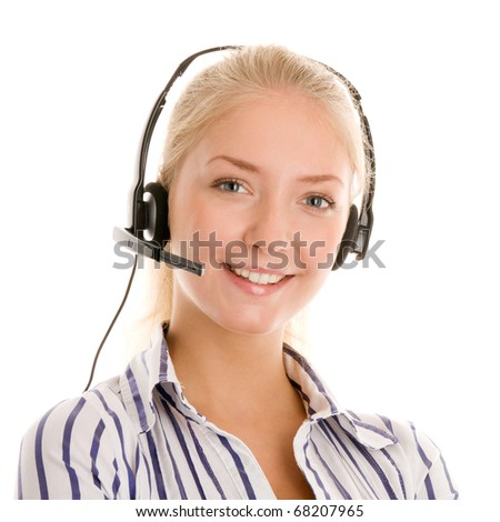 Young telephone operator smiling - stock photo