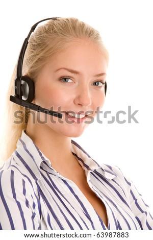 Young telephone operator wearing headset - stock photo