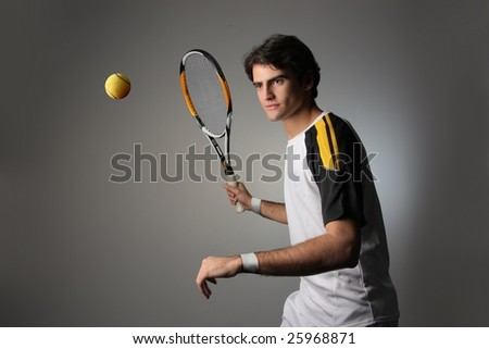 young tennis player in action - stock photo