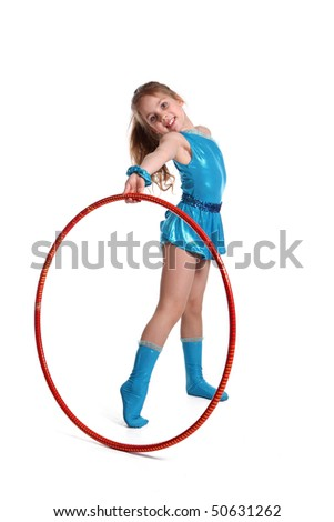 young the girl-gymnast with Hula hoop on white background