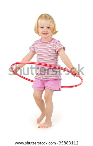 young the girl-gymnast with Hula hoop on white background - stock photo