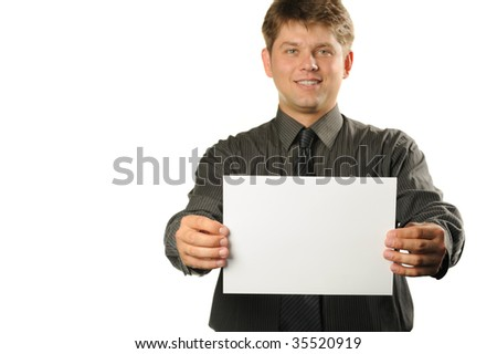 Young the man holds blank signs. It is isolated on a white background - stock photo
