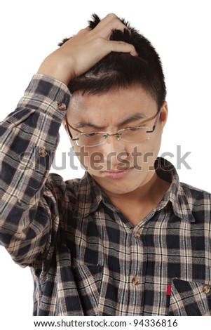 young thinking man - stock photo