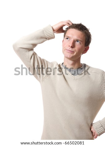 young thinking man look up isolated over white background