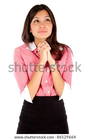 Young thoughtful business woman isolated over white background.