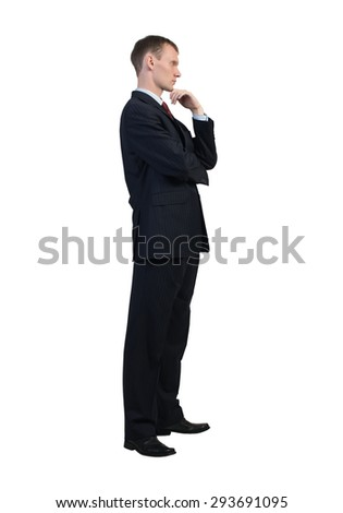 Young thoughtful businessman isolated on white background - stock photo