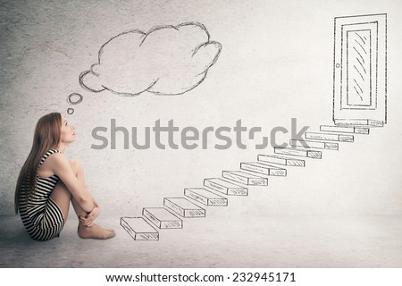 Young thoughtful woman sitting in front of a ladder stairways leading to closed corporate office door thinking. Promotion concept in life career. Face expression perception vision challenge, attitude - stock photo